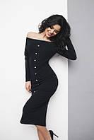 Чёрное моделирующее платье с жемчугом. Арт-5381/54