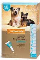 Капли на холку Адвокат для собак 4-10кг против гельминтов, эктопаразитов
