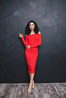 Красное моделирующее платье с жемчугом. Арт-5381/54