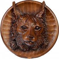Настенная декоративная резная тарелка Рысь из дерева ореха