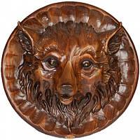 Настенная декоративная резная тарелка Лис из дерева ореха