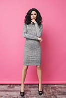 Стильное серое платье в клеточку, длинный рукав. Арт-5383/54