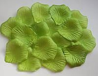 Лепестки роз искусственные 200 шт. Цвет ярко-зеленый. Украшение праздника, свадьбы, торжества