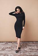 Элегантное чёрное платье с открытой спиной, длинный рукав. Арт-5385/54