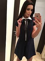 Тёмно синее оригинальное платье с воротничком и карманами. Арт-5392/54
