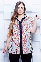 Блуза рубашечного кроя из голубого штапеля в горох с принтом большого размера 54-56