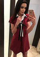 Бордовое оригинальное платье с воротничком и карманами. Арт-5392/54