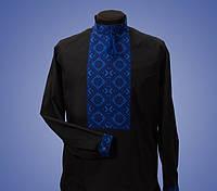 Мужская вышиванка с красивым узором  синий