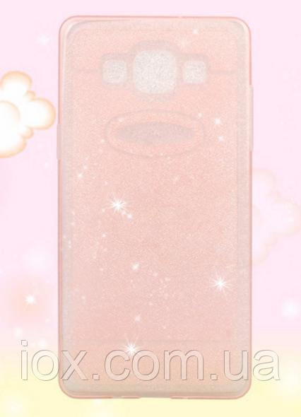 Силиконовый переливающийся розовый чехол для Samsung Galaxy A3