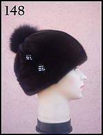 Женская норковая шапка с помпоном, фото 1