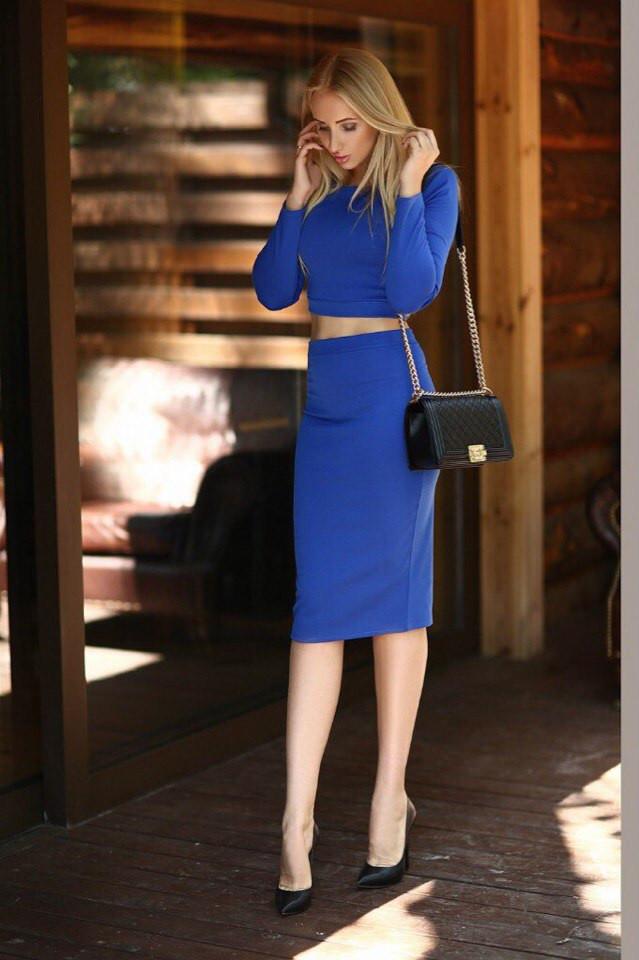 Костюм кофта+юбка миди синий