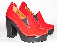 Туфли на тракторной подошве, красного цвета,36,37,39,40р