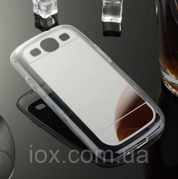 Силиконовый зеркальный серебряный чехол для Samsung Galaxy S3/S3 duos