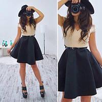 Платье модное стильное с открытыми плечами и пышной юбкой из неопрена SMB132