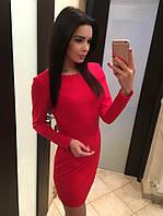 Стильное красное платье со змейкой на спине. Арт-5394/54
