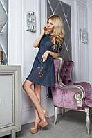Молодёжное джинсовое платье с бабочками. Арт-5397/54