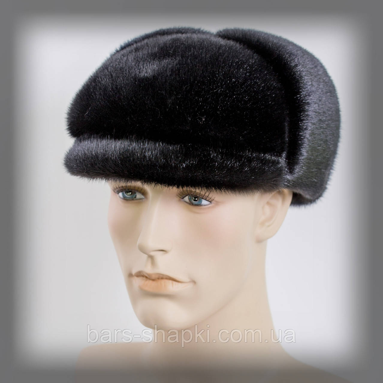 Мужская шапка из нерпы (черная)