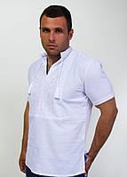 Мужская вышиванка с коротким рукавом  белая на белом