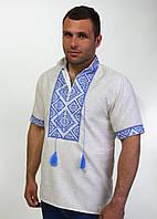 Мужская вышиванка с коротким рукавом  синий