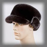 Норковая мужская шапка (конфедератка) тёмно коричневая