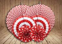 Набор бумажных вертушек для декора 6 шт., красные