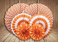 Набор бумажных вертушек для декора 6 шт., оранжевые