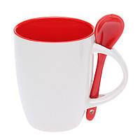 Керамическая чашка с ложкой Красная