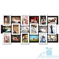 Фоторамка Классическая на 18 фотографий 10х15, антибликовое стекло (чёрно-белый)