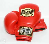 Боксёрские перчатки кожа ФБУ Reyguard красные 12унц Брак