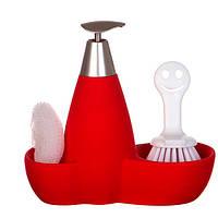 Набор для мыла с губкой и щеткой Красный
