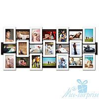 Фоторамка Классическая на 21 фотографий 10х15, антибликовое стекло (чёрно-белый)