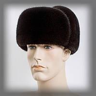 Мужская шапка ушанка из норки на коже (коричневая), фото 1