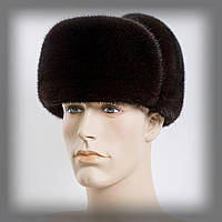 Мужская шапка ушанка из норки на коже (коричневая)