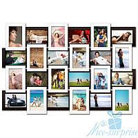 Фоторамка Классическая на 24 фотографий 10х15, антибликовое стекло (чёрно-белый)