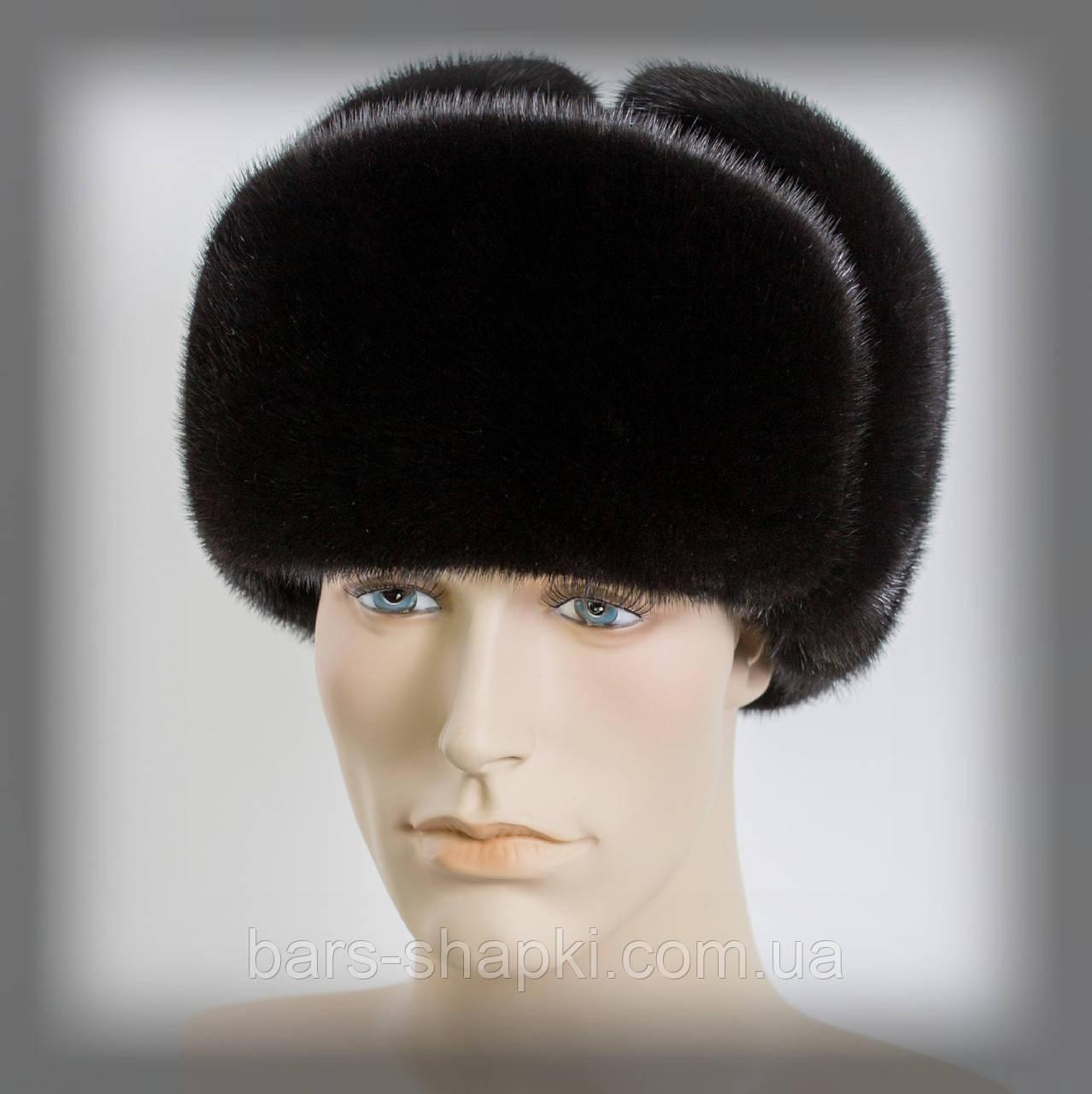Мужская шапка ушанка из норки на замше (черная)оптом