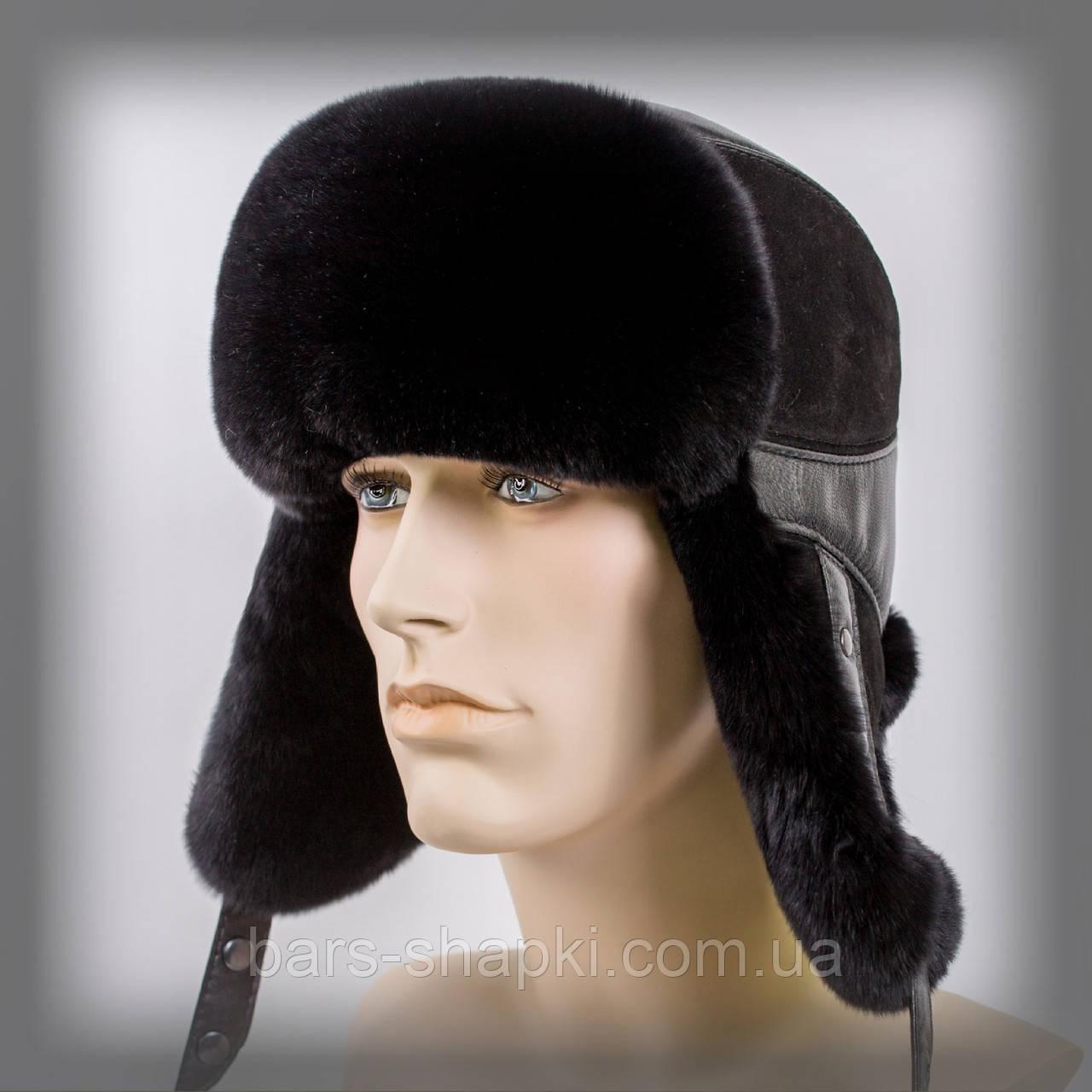 Мужская шапка-ушанка из Rex Rabbit (комбинированная замша+кожа)оптом