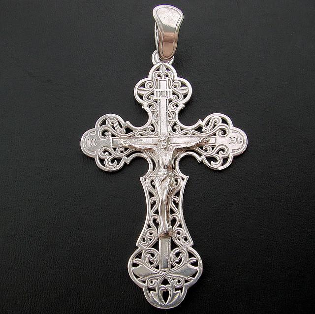 Серебряный нательный крестик из серебра 925 пробы №75