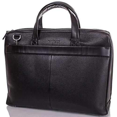 Качественный мужской портфель с отделением для ноутбука из натуральной кожи KARLET SHI5710-2FL черный