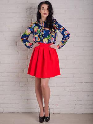 Красная женская юбка до колена