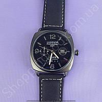 Часы Panerai Luminor GMT 10 Days B154 мужские с календарем черные на ремешке из искусственной кожи