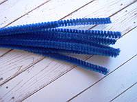 Синельная пушистая проволока, 30 см, цвет синий, фото 1