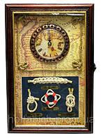 Ключница настенная с часами Морская