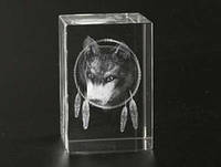 Голограмма лазерная в хрустале Волк