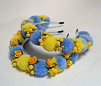 Ободок с сине-желтыми помпонами PO-1042