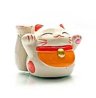 Кот копилка с подставкой керамический