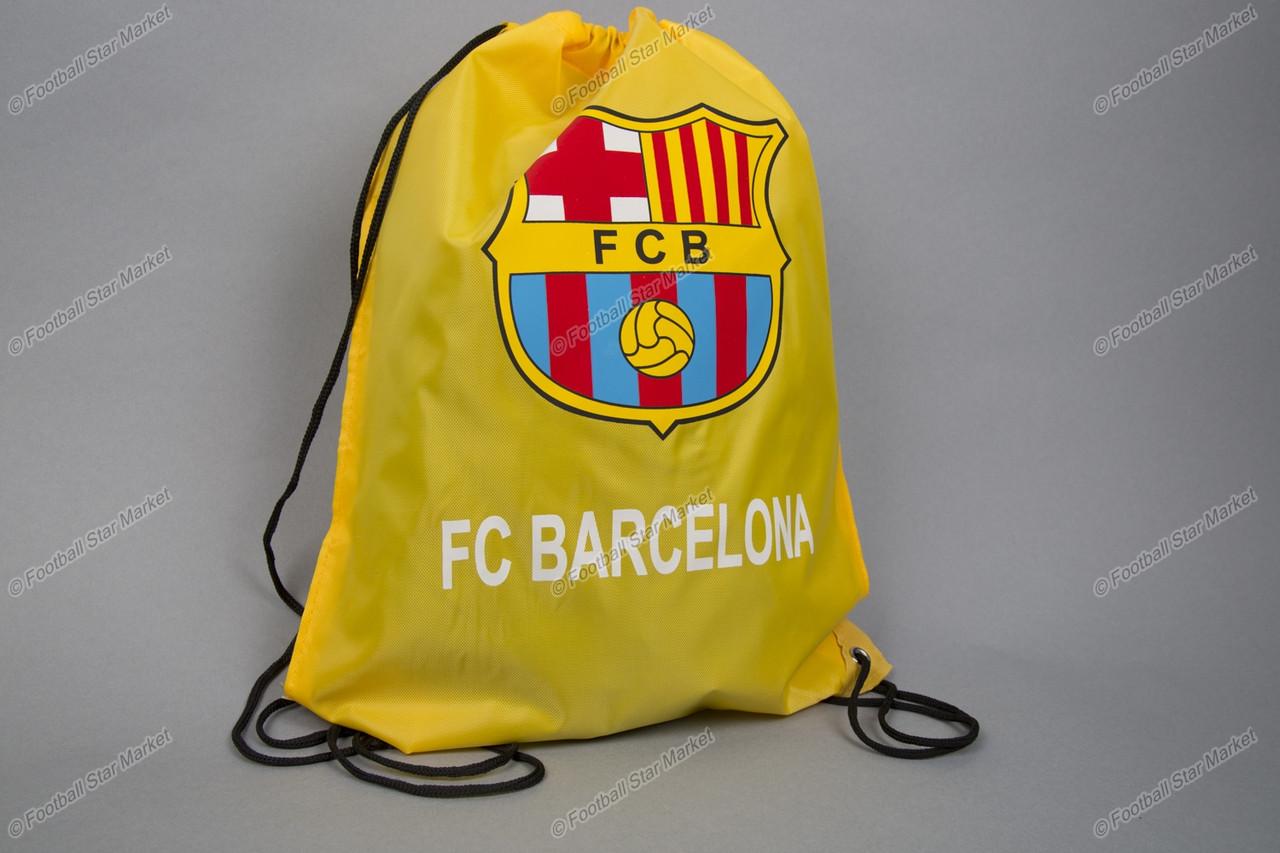 Торба (сумка, мешок, рюкзак) клубная БАРСЕЛОНА желтая на шнурках