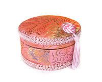 Шкатулка круглая розовая