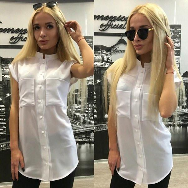 Шифоновая блуза с нагрудными карманами