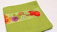 Полотенце кухонное махровое салатовое Руно