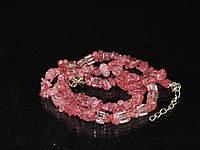 Крошка из сахарного кварца,розовый, 45см, фото 1